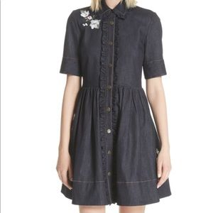 KATE SPADE NY embroidered denim shirt dress size 2